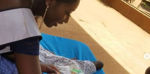 MISS AFRICA GB  LEILA VISITS ORPHANAGE IN  BISSAU